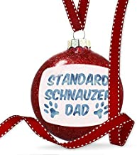 Cheyan Dog & Cat Dad Standard Schnauzer Christmas Ornaments Glass Christmas Tree Decorations Baubles Novelty, Keepsake, Couples Gifts