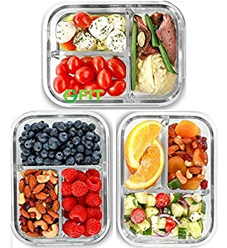 3 Compartment Glass Meal Prep Containers  3 Pack 32 oz  - Glass Food Storage Containers with Lids Glass Lunch Box Glass Bento Box Lunch Containers Portion Control Airtight