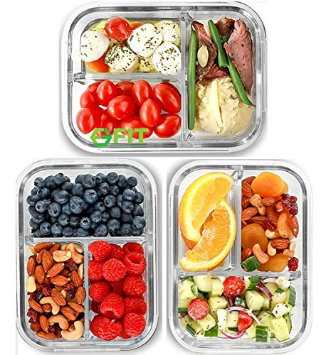 3 Compartment Glass Meal Prep Containers [3 Pack, 1000 ML] - Glass Lunch...