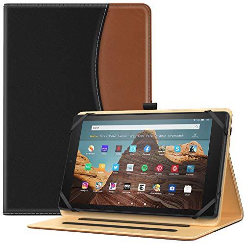 TiMOVO タブレットケース 9~10インチタブレット適用 汎用保護カバー 全面保護 高級PU製 収納スロット付き スタンドケース ブラックブラウン