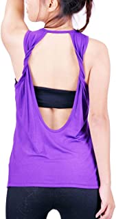 Lofbaz Women's Sexy Twist Open Back Yoga Shirts Workout Clothes Sports Tank Tops