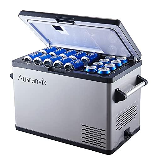 Car Refrigerator 45 Quart Car Cooler -4℉~68℉ 12 Volt Refrigerator with 12/24V DC and 100-240V AC Adapter, Portable Refrigerator for Car Camping and Truck RV Home