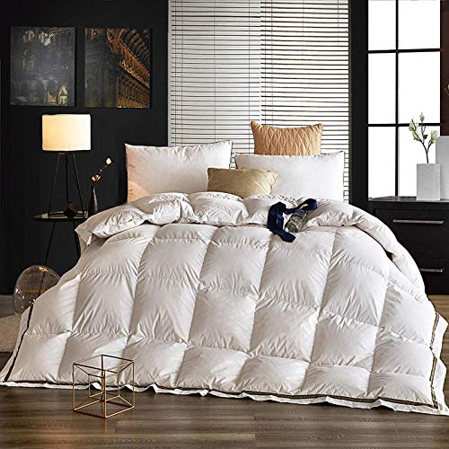 Hahaemall Lightweight Duvet Double 100% Cotton Down Proof Fabric - For All Season Use - Anti-Dust Mite White Goose Feather Down Duvet-White_150x200cm-2.5Kg