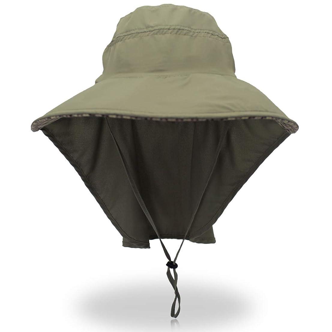 どこでも無駄な衝撃[MAZU] 漁師キャップ 日除け帽子 釣り サーフハット フィッシングハット ガーデニング 登山 農作業 アウトドア 通気性がいい シェード付きハット UVカット UPF50+