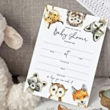 Bliss Collections 25 Baby Shower Invitations with Envelopes Woodland Animals, Forest Creatures, Fox, Owl, Racoon, Wolf, Hedgehog, Bobcat - Gender Neutral, 5x7 Cards