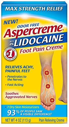 Aspercreme Odor Free Max Strength Lidocaine Foot Pain Relief Crème, 4 Ounces
