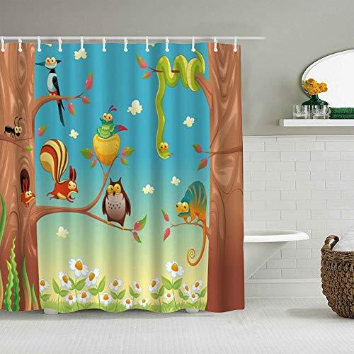 MANISENG Duschvorhang aus Polyestergewebe,Cartoon Waldblume Eule Schlange Eichhörnchen Schmetterling Frühling,mit 12 dekorativen Badvorhängen aus Kunststoffhaken 72 x 72 Zoll