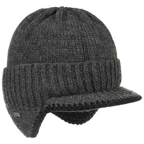 McBurn Dinder Peak Pull-On Hat Damen/Herren - Made in Italy Wintermütze Wollmütze Herrenmütze mit Futter, Futter Herbst-Winter - S/M (54-57 cm) anthrazit