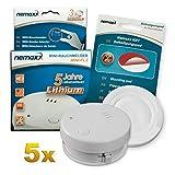 5X Detector de Humo Nemaxx Mini-FL2 Mini Detector de Fuego y Humo Detector con batería de Litio de Acuerdo con la Norma DIN EN 14604 + Nemaxx Pad de fijación Adhesiva Quickfix NX1