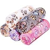 ペット用 ブランケット 毛布 犬猫 マット タオル ソフト 秋冬の防寒 保温 洗える サンゴフリース 可愛い肉球柄 Angelpet (S,5枚セット)