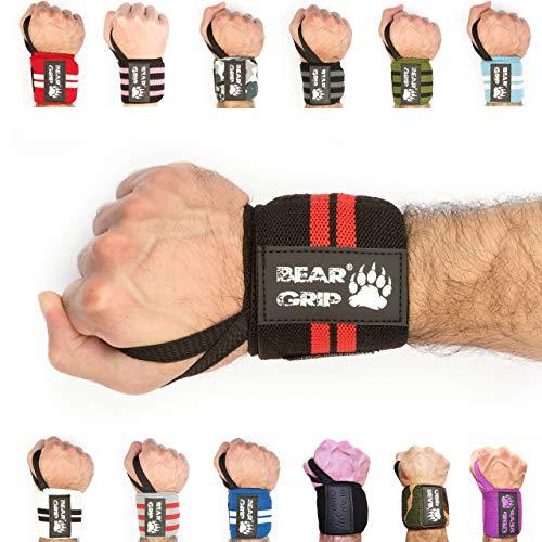 Bear Grip - Muñequeras de levantamiento de pesas (2 unidades), negro /rojo