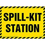 Spill-Kit Station Sign - J. J. Keller & Associates - 14' x 10' Permanent Self Adhesive Vinyl with Rounded Corners and UV Top Coating for Light-Duty Indoor/Outdoor Use