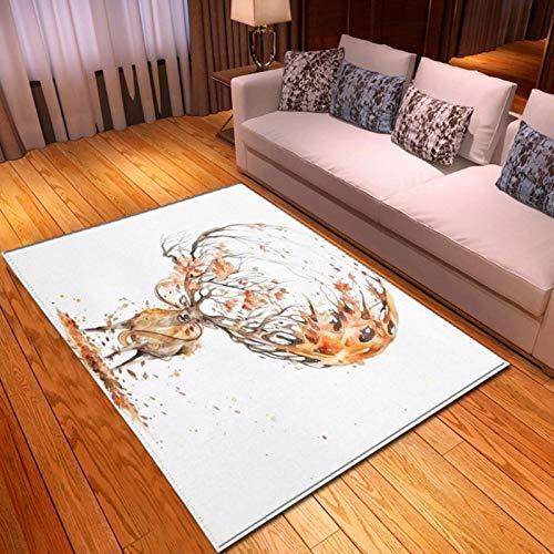 LGXINGLIyidian Alfombra Creativo Oso Polar Alce Guepardo Alfombra Suave Antideslizante para Decoración del Hogar Impresa En 3D P803E 180X200Cm