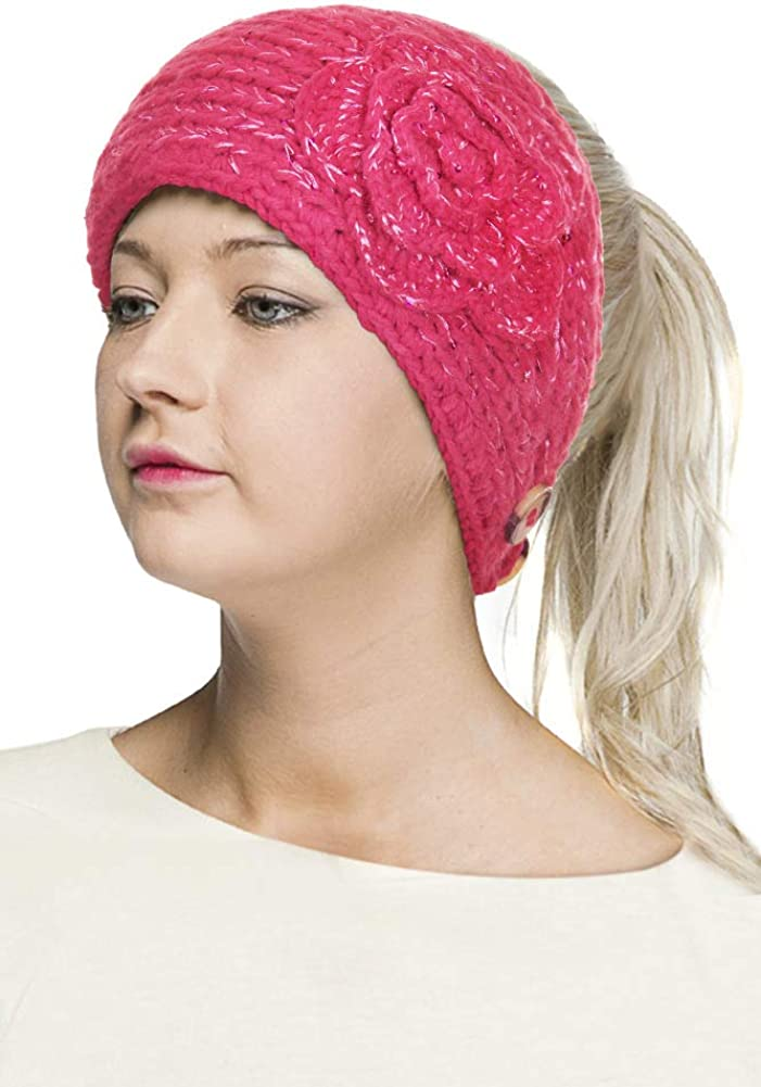 ScarvesMe Women's Flower Sequin Knitted Winter Cable Headband Headwrap