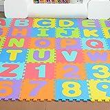 Alfombra Puzzle para Niños 36 Piezas, Colchoneta Rompecabezas Infantil,Gomaespuma EVA,Números y Letras Tamaño de Cada Pieza 15.5 x 15.5 cm