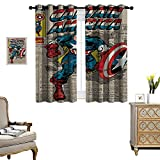 DRAGON VINES Windproof Curtain Captain America Comic Book Cover Indoor Decoration Set of 2 Panels W55 x L72