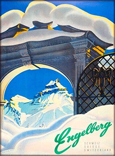 A SLICE IN TIME Engelberg Switzerland Swiss Suiss Schweiz Suisse Ski Resort Vintage Europe European Travel Adventures Advertisement Art Souvenir Poster Print. Measures 10 x 13.5 inches
