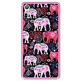 Hapdey Funda Rosa para [ Sony Xperia Z3 ] diseño [ Patrón Brillante de Elefantes Rosados y Rojos ] Carcasa Silicona Flexible TPU