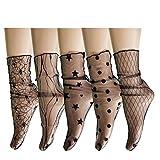 Womens Girls Sheer Mesh Fishnet Sparkle Novelty Ankle Socks See Through Lace Glitter Loose Slouch Socks 5 Pairs,Black Star Rose Polka