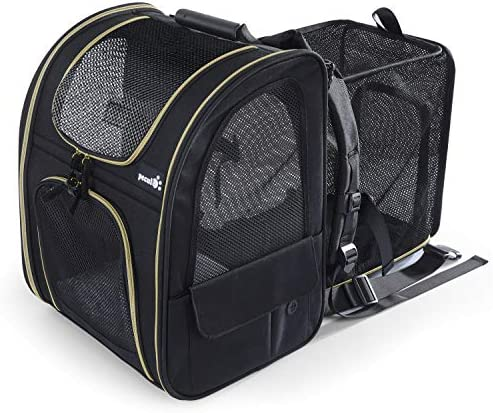 Pecute Pet Carrier Backpack, Dog Carrier Backpack, Expandable with Breathable Mesh for Small Dogs Cats, Pet Backpack Bag for Hiking Travel Camping Hold Pets Up to 18 Lbs