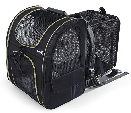 Pecute Transportin Gato Mochilas para Gatos y Perro Bolsa para Mascotas Expandible y Plegable, Carga Máxima 15 kg, para Viajar en Tren/automóvil/Restaurante/avión, Gris (Negro, Ventana de Malla)