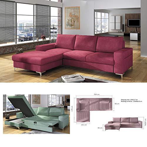 MHF 'LENS' moderno esquina sofá cama almacenamiento patas cromadas piel sintética y tela izquierda