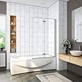 Image of 1000x1400mm EASY CLEAN 180 degree Hinged 2 Fold Folding Shower Bath Screen Reversible Glass Panel
