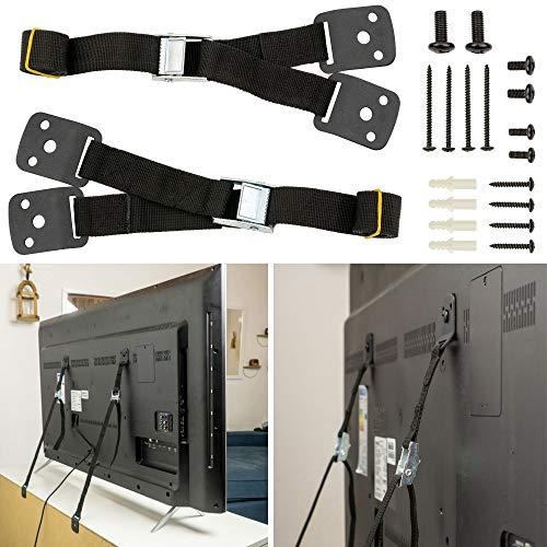 Kippsicherung für TV, Regale und Schränke, 2er Set, zum Schrauben, einfach zu aktivieren/deaktivieren, für Kleinkinder und Haustiere, inklusive Dübeln und Schrauben, Kippschutz für Fernseher und Möbel