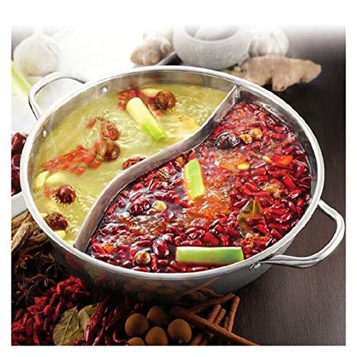 XU TAO Edelstahltopf Twin geteilt Chinesischer Hottopf Induktionskocher Gasherd Home Kitchen Kompatible Kochgeschosssuppe Kochtopf (Color : 28cm)