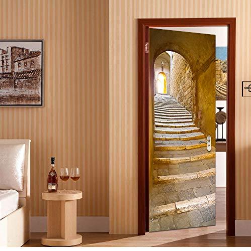 libby-nice DIY 3D Escalera De Caracol Pegatinas De Pared DIY Dormitorio Mural Decoración del Hogar del Cartel PVC Etiqueta De La Puerta A Prueba De Agua Calcomanía