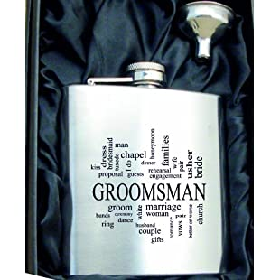 Groomsman 6oZ Hip Flask HF504 can be Personalised Engraved Free in silk lined gift box