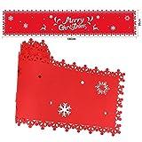 HOWAF Frohe Weihnachten Rentier Schneeflocke Tischläufer Rot Weihnachts Tischband Tischdecke für tischdeko Winter Weihnachtsdeko, Filz, (38 × 180 cm) - 7