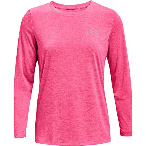 Under Armour Women's Tech Twist Crew Long-Sleeve T-Shirt , Cerise (653)/Metallic Silver , Large