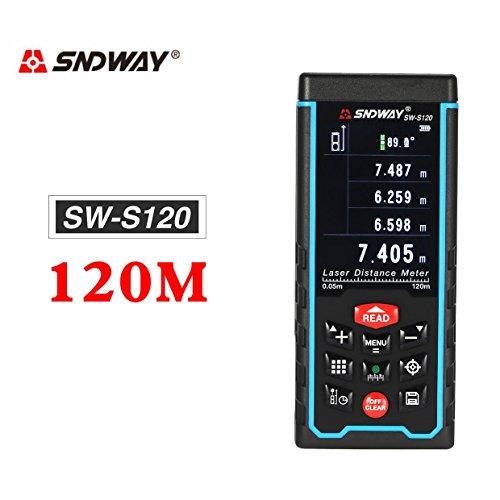 Ballylelly SNDWAY SW-S120 120 M Palmare Distanza Laser Meter Range Finder Trena Laser Tape Measure Distanza Strumento Telemetro Telemetro Camera