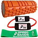 Foam roller for release of myofascial activation points and muscle massage, roller for deep relief of pain in your legs and body, ankle speed bands and activation band
