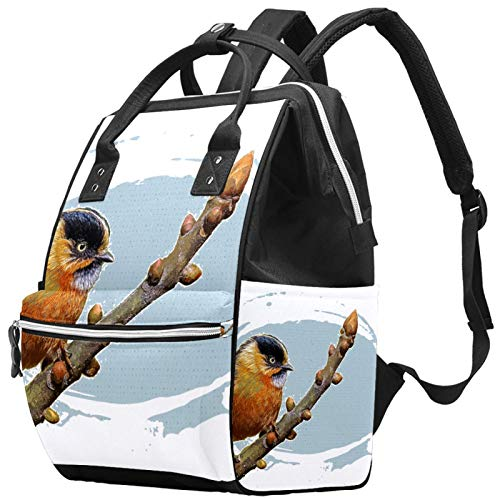 Leisure Travel School Little Fat Bird Pattern Backpack Multifunction Diaper Bag with Adjustable Strap for Men Women Girls Boys