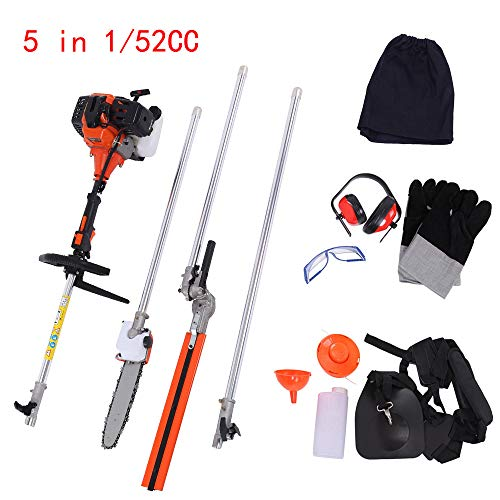 Find Discount 5 in 1 52CC Multifunctional 2-Stroke Petrol Brush Cutter Grass Trimmer Chainsaw Hedge ...
