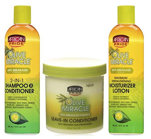 African Pride Olive Miracle - Set di tre shampoo e balsamo 2 in 1 da 355 ml, balsamo senza risciacquo da 425 g, lozione idratante per rafforzare, 355 ml