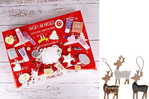 Adventskalender Weihnachtskalender Bath & Body Hase1 an Hase2, Weihnachtskalender mit Kosmetik- & Wellness-Inhalt, perfekte Geschenkidee für Frauen & Mädchen