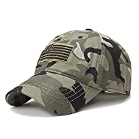 LANGZHEN Men's Women's USA American Flag Polo Style Baseball Cap Embroidered Military Camouflage Hat (3#Flag-Camouflage)