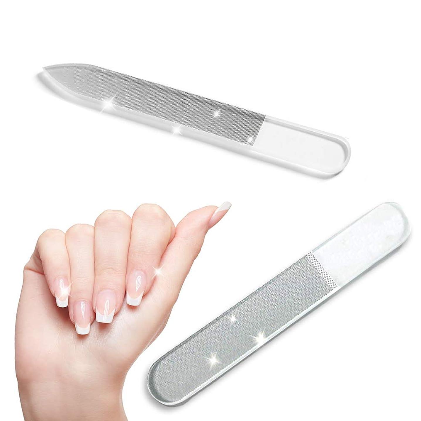 最初に操作シャイニング【お得な2点セット】爪やすり ガラス 爪磨き ツヤ出し ケース付属 ネイルシャイナー