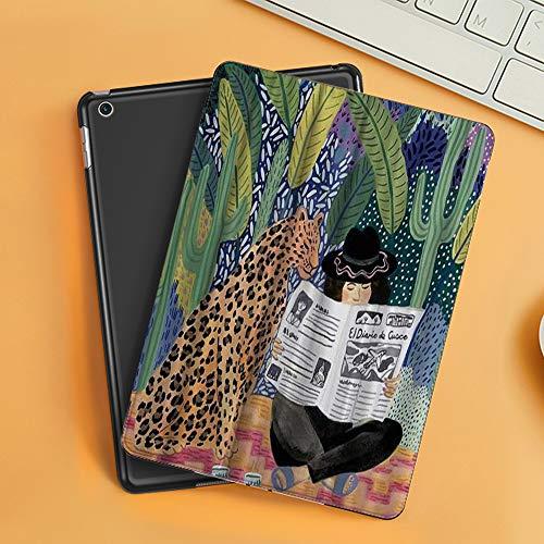 Cover per iPad 10.2 2019,Space Artist Colourful A Leopard Reading Newspaper Sit by A Lady in Tropical Forest,Ultra Sottile Leggero Pelle PU Stand Flip Folio Custodia Funzione di Sonno Smart Case