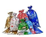 Viilich 30 bolsas de regalo, bolsas de papel de aluminio, 6 diseños diferentes para envolver bolsas de regalo de Navidad con 30 cintas para suministros de regalo de Navidad.