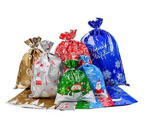 Viilich - 30 sacchetti per imballare regali, sacchetti da imballaggio in stagnola, 6 diversi disegni per confezioni regalo di Natale con 30 nastri