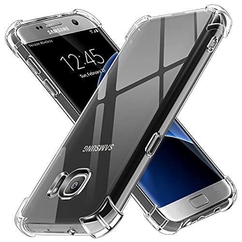 ivoler Funda para Samsung Galaxy S7 Edge, Carcasa Protectora Antigolpes Transparente con Cojín Esquina Parachoques, Suave TPU Silicona Caso Delgada Anti-Choques Case