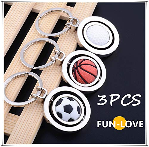 For Sale! fun-love Basketball, Golf, Football Accessories, turnable Keychain (3PCS)