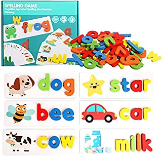 Toworld See and Spelling Learning Toy, Matching Letter Games Sight Word Flash Cards Montessori Wooden Educational Toys Gif...