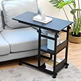 Bonzy Home Side Table with Wheels, Height Adjustable Snack end Table with Storage Shelf, Under The Sofa Overbed Table for Sofa Couch,Living Room,Bedroom & Small Spaces