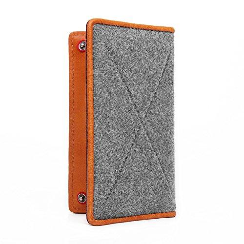 TOPHOME Phone Wallet Cover Sleeve Bag fit for iPhone 6 / iPhone6 S/iPhone 7 iPhone 8 Genuine Leather Edge Felt Wallet Bag Holder Case Cover with Business Credit Card Pocket