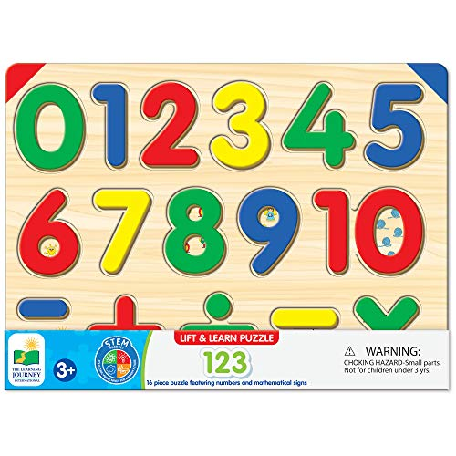 The Learning Journey: Lift & Learn 123 Number Puzzle - Pictures Underneath Each Piece - Learn to Count and Numbers Puzzle